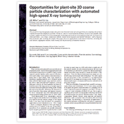 Opportunites for Plant-Site 3D Coarse Particle Characterization with Automated High-Speed X-Ray Tomography